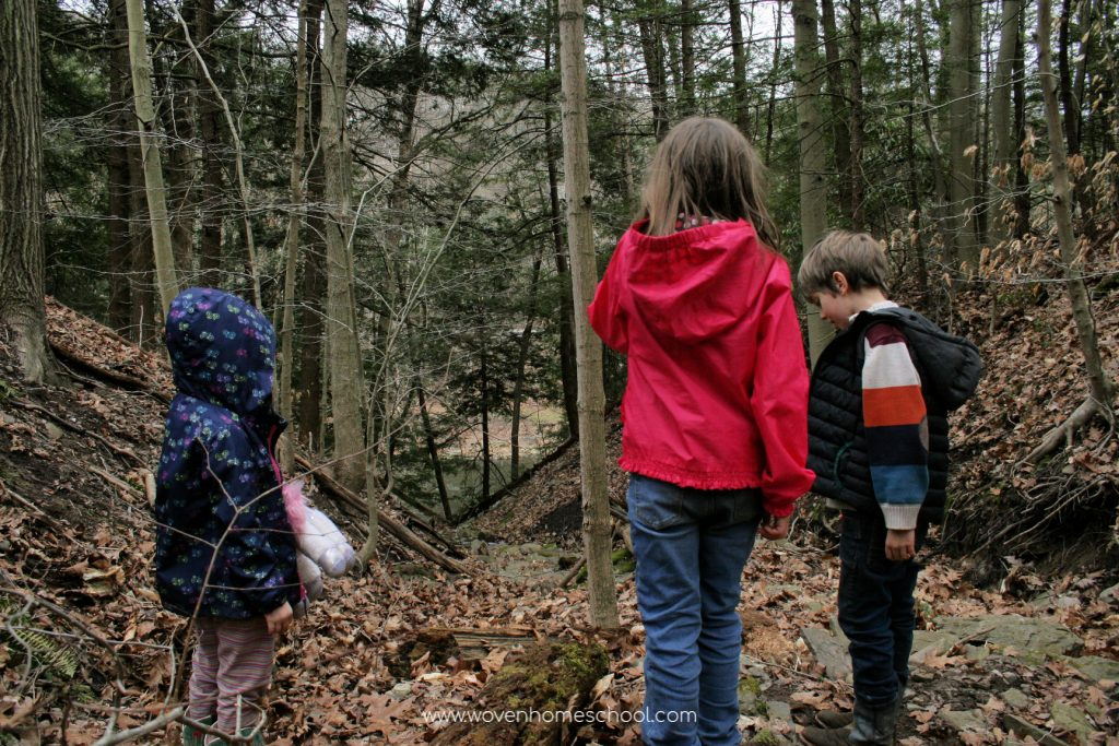 Three children looking down a hill in the woods
