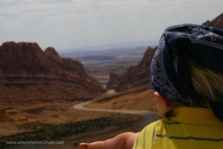 Child overlooking a canyon in the Utah desert