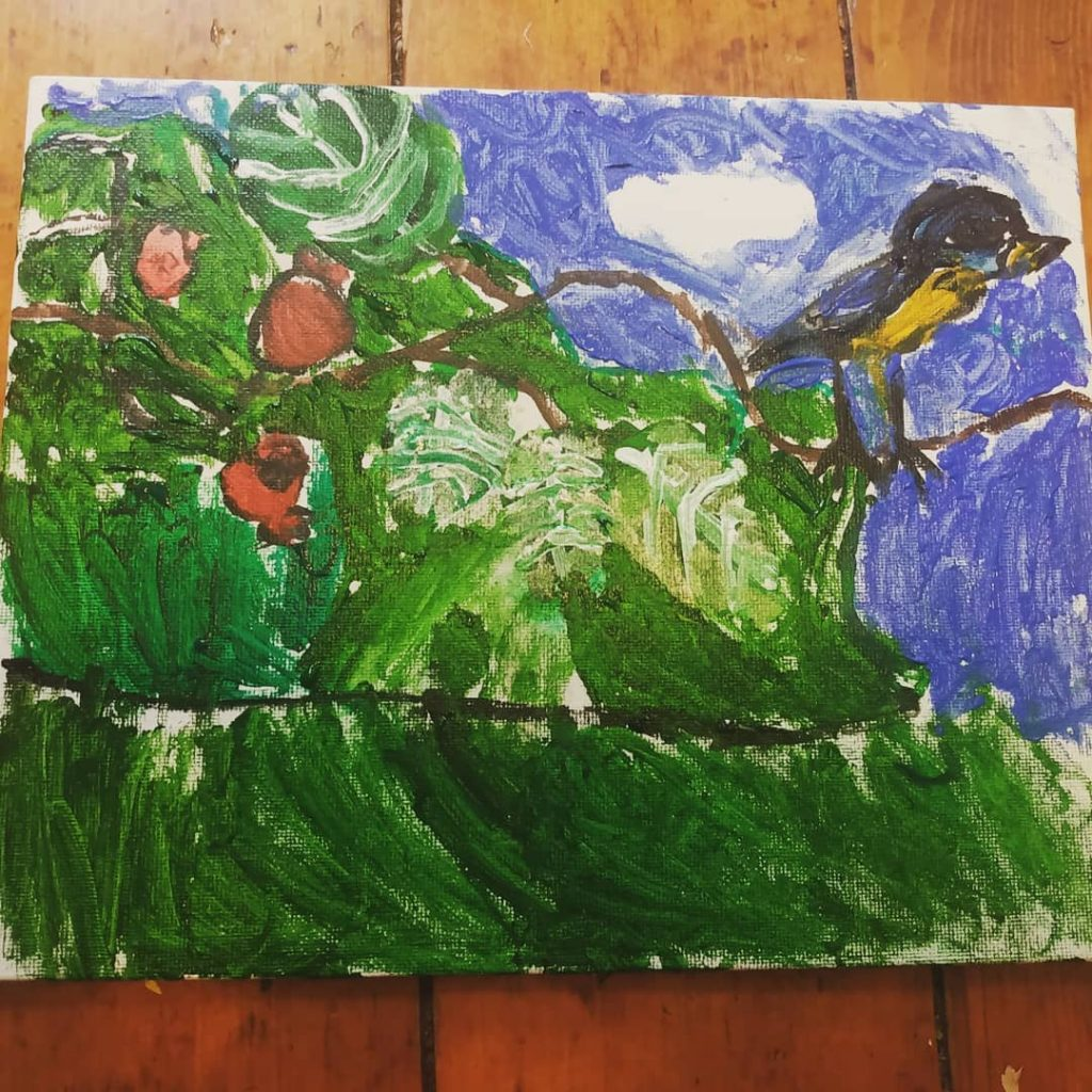 Child's painting of a bird